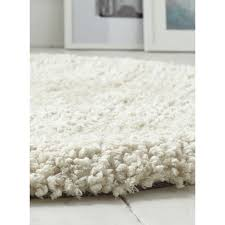 Thick Pile Rug Soft Fluffy Polyester Cream Circle Shaggy Rug Kukoon