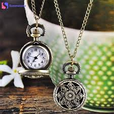 pocket watch chain necklace images Vintage retro bronze pocket watch men women vogue analog quartz jpg