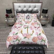 Anchor Bedding Set Pink Watercolor Skull Anchor Duvet Bedding Sets Ink And Rags