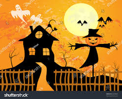 vector picture about halloween scarecrow bats stock vector
