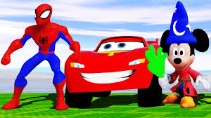 mickey mouse u0026 spiderman superhero play lightning mcqueen