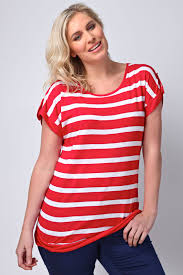 yours clothing womens plus size red and white stripe top with tab