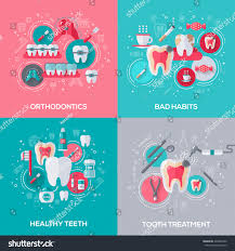 dentistry banners set flat icons vector stock vector 423894922