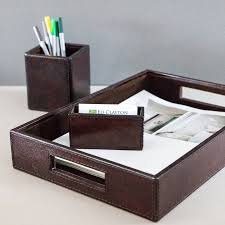 Modern Desk Organizers by Desk Anizer Set M An In Box Leather Desk Tray Leather Letter Tray