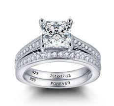 engraved engagement rings images Personalized 2 inner engraving sterling silver wedding engagement JPG
