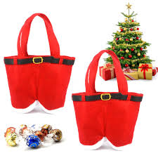 wholesale christmas santa pants candy bag gift holder merry