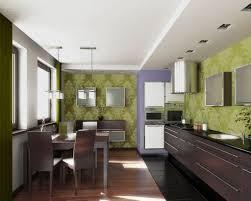 contemporary kitchen designs gas cooktop green pattern wallpaper