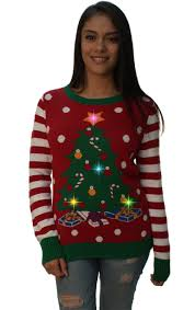 christmas tree sweater with lights ugly christmas sweater women s christmas tree led light up sweater