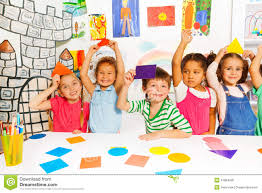 happy little kids with color cardboard shapes stock photo image