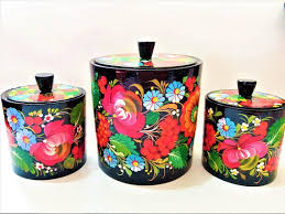 colorful kitchen canisters wooden kitchen canisters set of 3 folk floral colorful