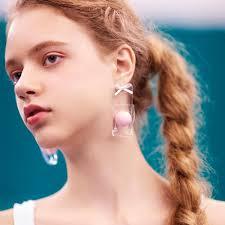 in earrings yvmin pe class series pink ornament earrings teelyes
