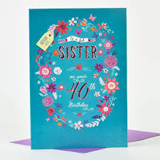 40th birthday card fab at 40 sister only 1 29