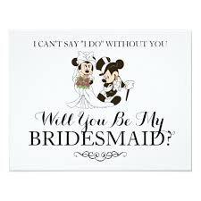 mickey and minnie wedding mickey minnie wedding married bridesmaid card zazzle
