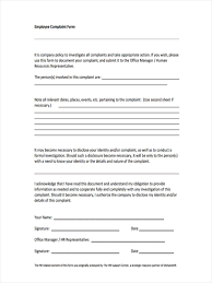 Human Resources Representative 9 Complaint Investigation Forms Free Samples Examples Formats