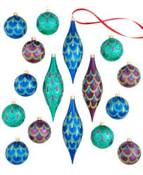 set of 2 peacock glitter ornaments only at