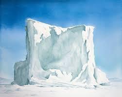 frozen kullorsuaq berg 18 x 24 watercolor