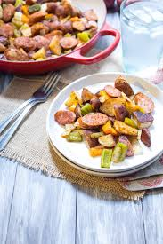 cajun potato and andouille sausage bake the in the little