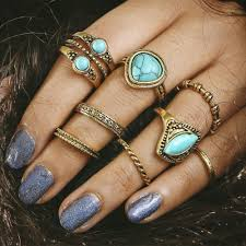 midi rings set lilah faux turquoise midi rings set 8 pieces omniqueen