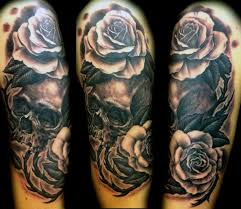 collection of 25 pink flowers and skull sleeve tattoos