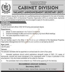 Govt Jobs Resume Upload by Government Of Pakistan Secretary Jobs In Cabinet Division Jobs