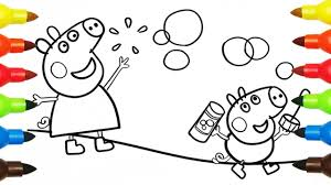 peppa pig jumping george pig coloring book pages kids fun art