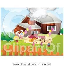 A Cartoon Barn Cartoon Of Children Celebrating At A Barn Birthday Party Royalty