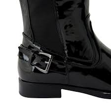 womens wide motorcycle boots new ladies womens wide calf fit black flat stretch knee high