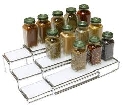 3 tier kitchen cabinet organizer amazon com decobros 3 tier expandable cabinet spice rack step