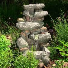 led lighted fountain rock falls garden pond outdoor pond water