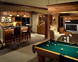 decor basement bar and bar stools with pool table also linear