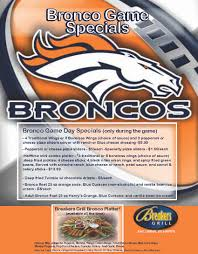 bronco game day specials come join the fun blog breaker u0027s grill