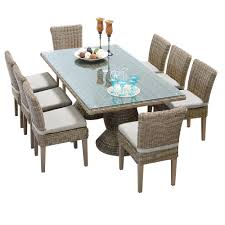 tk classics cape cod 9 piece rectangular wicker dining set with