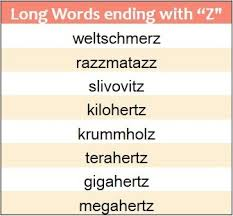 4 letter words ending with z format