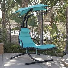 blue hanging chaise lounge chair arc stand air porch swing hammock
