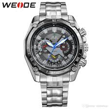Discount Military Watch Mens Watches For Men Multifunction Sports Waterproof Led 2 Watches Men Luxury Brand Military Watch Weide Full Stainless Steel