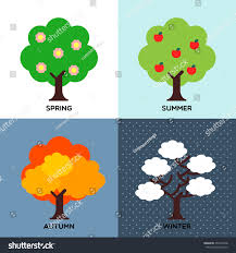 spring summer autumn winter four seasons change stock vector
