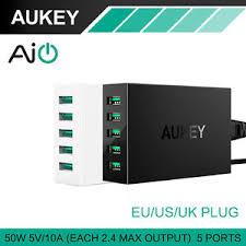 wall charging station aukey pa u33 50w 10a 5 ports usb desktop charging station wall