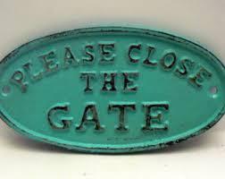 secret garden gate wall plaque sign cast iron distressed