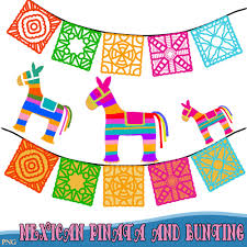 mexican pinatas and bunting fiesta clipart comes in png