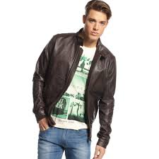mens moto jacket tommy hilfiger leather moto jacket in brown for men lyst