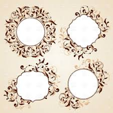 collection of frames with curly floral ornaments vector clipart