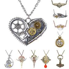 steampunk necklace vintage images 2015 fashion gears pattern feather owl angel wing vintage jpg