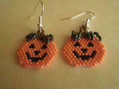 hand beaded jack o lantern earrings pumpkin earrings halloween