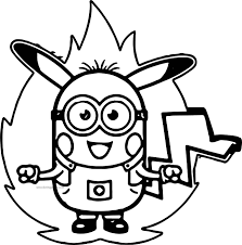 minion pikachu pokemon power coloring page wecoloringpage