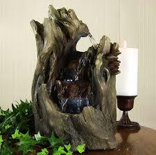 3 tier indoor outdoor log wood falls water fountain for tabletop
