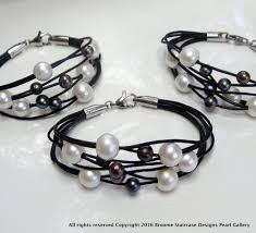 black pearl bracelet jewelry images Pearl leather bracelet white and black pearls JPG