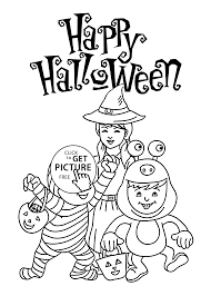 halloween happy kids coloring page for kids printable free