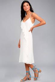 white honeymoon chic white midi dress white ruffle dress lwd