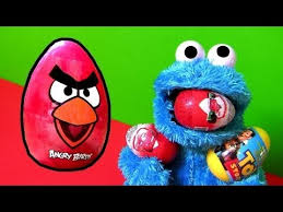 cookie monster eating kinder surprise eggs angry birds cars