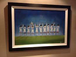 leeds united class of 72 original framed oil painting on canvas board 20 x30